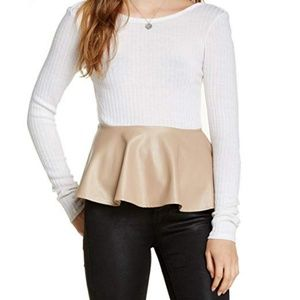 LIKE NEW Double Zero Faux Leather Peplum Top